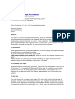 IEEE Format for Paper Presentation