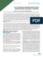 APORTACIONES DESDE LA PSICOLOGÍA ORGANIZACIONAL POSITIVA PARA DESARROLLAR ORGANIZACIONES SALUDABLES Y RESILIENTES