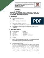 MEMORIA DESCRIPTIVA I.E. 38227 HUANCAPUQUIO