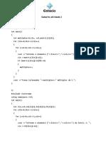 Gabarito atividade 2 Aula 10 em C++