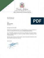 Carta de condolencias del presidente Danilo Medina a Wason Brazobán por fallecimiento de su hermana Noelia Brazobán de Marte