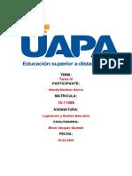 TAREA  4 DE LEGISLACION Y GESTION EDUCATIVA DE WENDY MARTINEZ