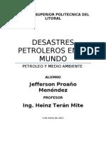 Desastres Petroleros en El Mundo