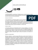 CARACTERÍSTICAS DE LA EDUCACIÓN POPULAR