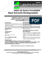 Abrillantador de Acero Inox Base Solvente Biodegradable