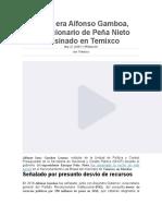 Quién era Alfonso Gamboa, exfuncionario de Peña Nieto asesinado en Temixco