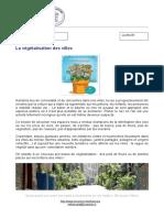 La végétalisation des villes avec exercices