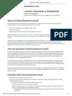Distanciamiento Social, Cuarentena y Aislamiento