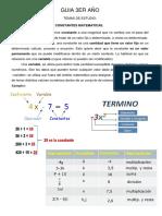 Guia 3er Año MATEMATICAS PDF realizada por el Prof. Jorge Castillo