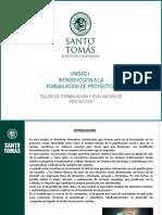 TALLER DE FORMULACIÓN Y EVALUACIÓN DE PROYECTOS Unidad 1-1