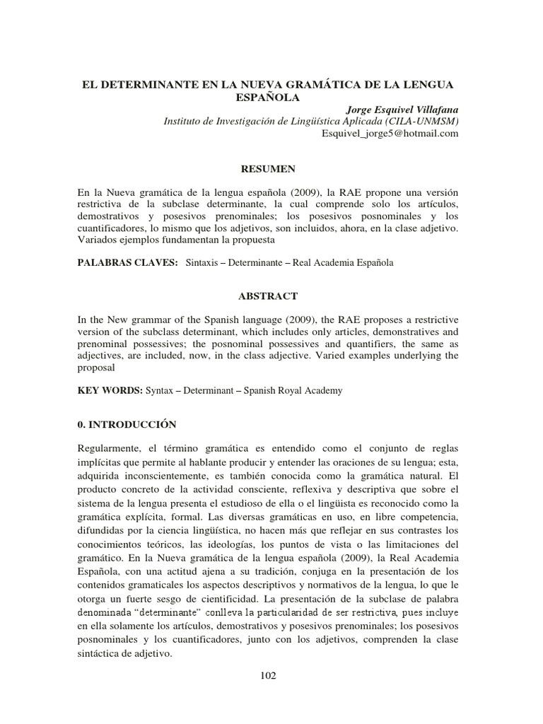 Artículo El Determinante En La Nueva Gramática De La Lengua Española Palabra Adjetivo