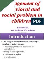 Management of Behavioral and Social Problem in Children...-PPT Unit VI