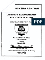 SSA DISTRICT ELEMENTARY EDUCATION PLAN DISTRICT MANSA PUNJAB
