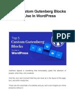 Top 5 Custom Gutenberg Blocks to Use in WordPress