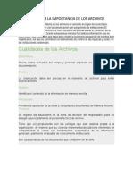 ENSAYO DE LA IMPORTANCIA DE LOS ARCHIVOS