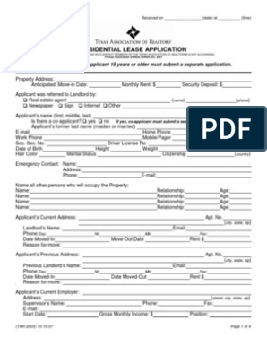 Tar Application For Rental Landlord Lease