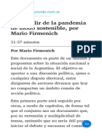 Cómo salir de la pandemia de modo sostenible  por Mario Firmenich