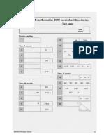 SATS Ks2 Mathematics 2001 Mental Arithmetic Answer Sheet