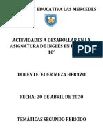 INGLÉS 10 SEGUNDO PERIODO