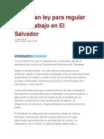 Aprueban ley para regular el teletrabajo en El Salvador