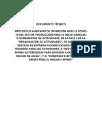 DOCUMENTO TÉCNICO PROTOCOLO SANITARIO DE OPERACIÓN ANTE EL COVID-19 DEL SECTOR PRODUCCIÓN PARA EL INICIO GRADUAL E INCREMENTAL DE ACTIVIDADES