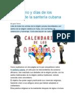 Calendario y días de los orishas de la santería cubana