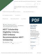 MEXT Scholarship Eligibility Criteria - 2020 University Recommendation MEXT Scholarship | TranSenz