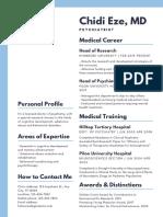 Blue and Dark Blue Psychiatrist Medical Resume