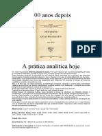 100 anos depois. A prática analítica hoje (folder)