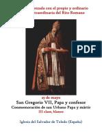 25 de Mayo. San Gregorio VII Papa y Confesor. Propio y Ordinario de la santa misa