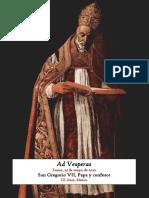 25 de mayo de 2020. San Gregorio VII, Papa y confesor. Visperas gregorianas