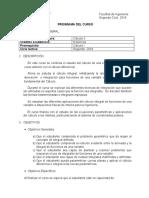 Programa Calculo II  2do. Ciclo 2018