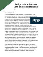 Unicamp divulga nota sobre uso de cloroquina e hidroxicloroquina  Unicamp