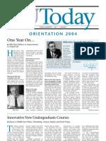 YESHIVA UNIVERSITY TODAY Orientation 2004