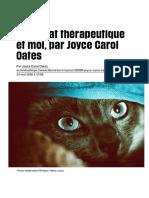 Mon chat thérapeutique et moi, par Joyce Carol Oates - Libération