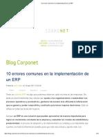10 errores comunes en la implementación de un ERP