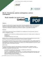 NIC 37.- Provisiones, pasivos contingentes y activos contingentes