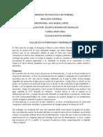 TALLER DE FOTOSÍNTESIS Y RESPIRACIÓN