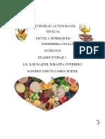 Examen Unidad 1 De Nutricion En Enfermeria