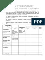 EJEMPLO DE TABLA DE ESPECIFICACIÓN