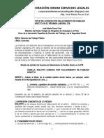 Modelo Solicitud Licencia Por Fallecimiento Familiar Directo Régimen Laboral 276 - Autor José María Pacori Cari