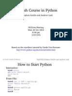 A Crash Course in Python