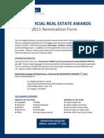 LABJ Commercial Real Estate Awards Nomination Form 2011