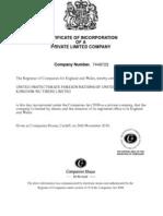 England Company Certificate