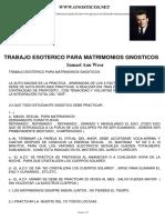 TRABAJO ESOTERICO PARA MATRIMONIOS GNOSTICOS