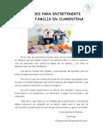 ACTIVIDADES PARA ENTRETENERTE CON TU FAMILIA EN CUARENTENA