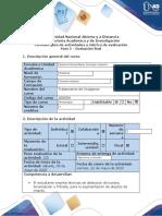 Guía de actividades y Rúbrica de evaluación - Paso 5 – Evaluación final