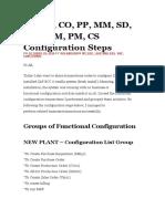 SAP FI, CO, PP, MM, SD, QM, WM, PM, CS Configuration Steps