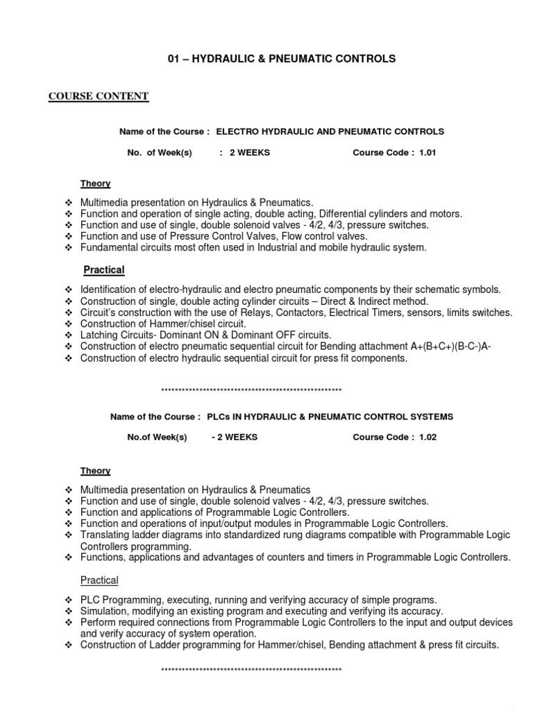 Course Content HPC   Programmable Logic Controller   Pneumatics