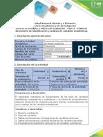 Guía de actividades estaditica- Fase 2. Elaborar documento de identificación y análisis de variables estad